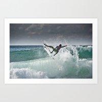 Filipe Toledo, Surfing in Hossegor, France, 2013.  Art Print