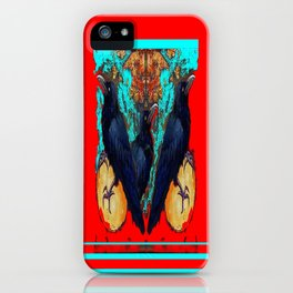 Crow-Ravens Family Red Southwest Style Abstract iPhone Case