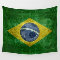 napoleon Wall Tapestries featuring Vintage Brazilian National flag featuring a football ( soccer ball ) by Bruce Stanfield