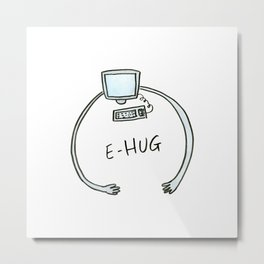 Comic E-hug, computer hug Metal Print