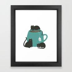 CATS + TEA Framed Art Print