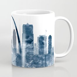 St Louis City Skyline Watercolor Blue by zouzounioart Coffee Mug