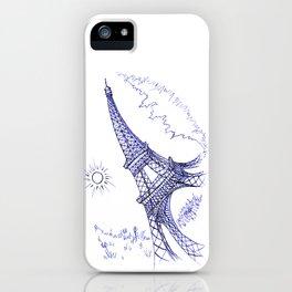 Eiffel Tower in Blue iPhone Case