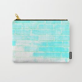 turquoise blue distressed painted brick wall ambient decor rustic brick effect Carry-All Pouch