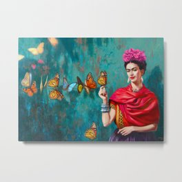 Frida Kahlo self-portrait butterflies pink flowers grunge Metal Print