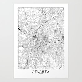 Atlanta White Map Art Print