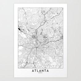 Atlanta White Map Kunstdrucke