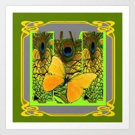 GREEN ART NOUVEAU BUTTERFLY PEACOCK PATTERNS Art Print