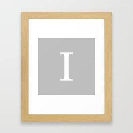 Silver Gray Basic Monogram I Framed Art Print
