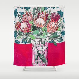 Bouquet of Proteas with Matisse Cutout Wallpaper Shower Curtain