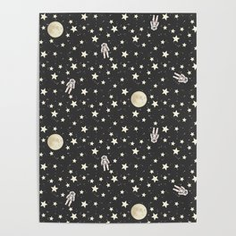 Space - Stars Moon and Astronauts on black Poster