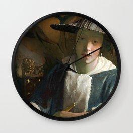Johannes Vermeer - Girl with a Flute Wall Clock
