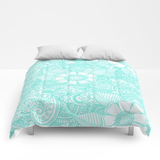 Henna Design - Aqua Comforters