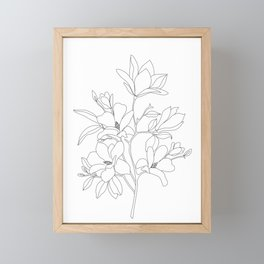 Minimal Line Art Magnolia Flowers Framed Mini Art Print