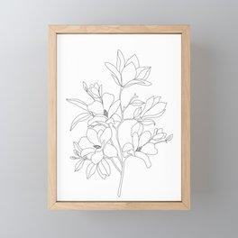 Minimal Line Art Magnolia Flowers Framed Mini Art Print