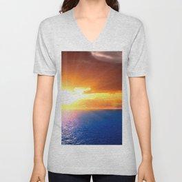 sun beams sky horizon orange decline light ripples sea Unisex V-Neck