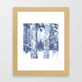 Red Bird House in Winter White Scene #decor #society6 #buyart Framed Art Print