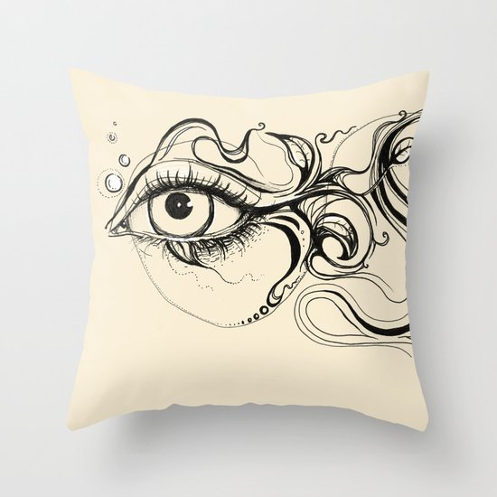 Eye Fish Doodle Throw Pillow
