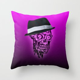 Elegant Skull with hat,hot pink Throw Pillow