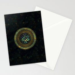 Marble and Abalone Endless Knot  in Mandala Decorative Shape Stationery Cards