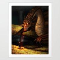 smaug Art Prints featuring Smaug by wolfanita