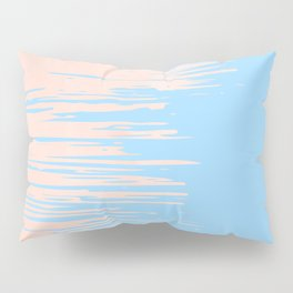 Carefree - Sweet Peach Coral Pink on Blue Raspberry Pillow Sham