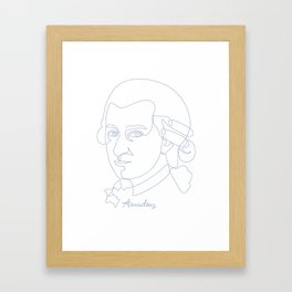 Wolfgang Amadeus Mozart Oneline Blue Framed Art Print
