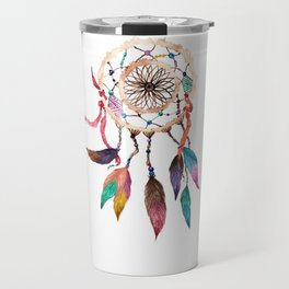 Native American Boho Vibrant Watercolor Beaded Dreamcatcher Travel Mug