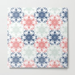 Floral in Aqua, Coral Red and Navy Blue Metal Print