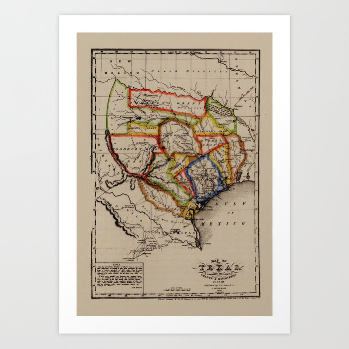 Map Of Texas 1836.Map Of Texas 1836 Art Print