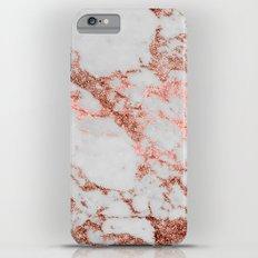 Stylish white marble rose gold glitter texture image iPhone 6s Plus Slim Case