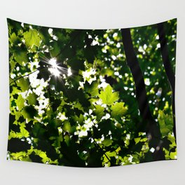Green Maple Leaf PattrnTree Leaves Parallax Sunshine Shows Leaves Green Color Wall Tapestry