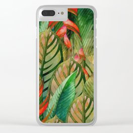 Painted Jungle Leaves 2 Clear iPhone Case