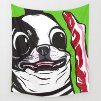 bacon Wall Tapestries featuring frenchie bacon by turddemon