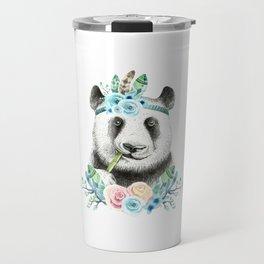Watercolor Floral Spray Boho Panda Travel Mug