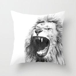 Black White Fierce Lion Throw Pillow