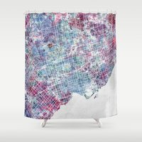toronto Shower Curtains featuring Toronto map by MapMapMaps.Watercolors