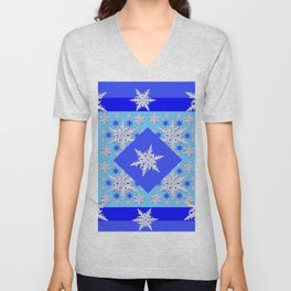 DECORATIVE BABY BLUE SNOW CRYSTALS BLUE WINTER ART Unisex V-Neck