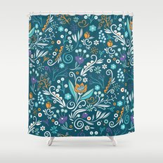 Flower circle pattern, blue Shower Curtain