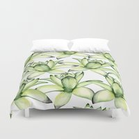 succulents Duvet Covers featuring Succulents by Julia Badeeva