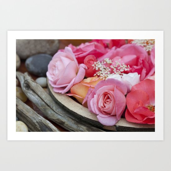 Pink Roses Romantic Still Life Art Print