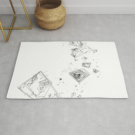 Mountain Vertices, Mt. Shasta, Black Geometric Rug
