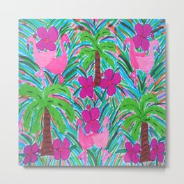 Beach Party with Palms and Flamingos Metal Print