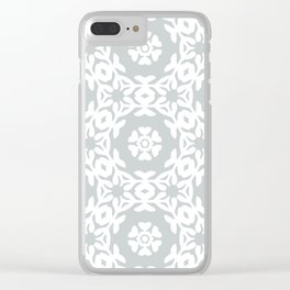 Grey Floral Trellis Woodblock Pattern Clear iPhone Case