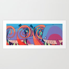Just Some Whales Art Print