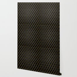 Black scales pattern with golden lines Wallpaper