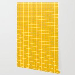 Amber - orange color - White Lines Grid Pattern Wallpaper