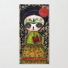 Frida The Catrina And The Devil - Dia De Los Muertos Mixed Media Art Canvas Print