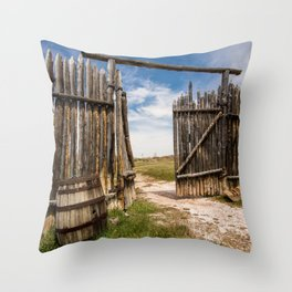 Historic Fort Bridger Gate - Wyoming Throw Pillow