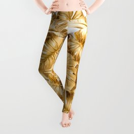 Gold Leaves Aloha Tropical Foliage Pattern Leggings